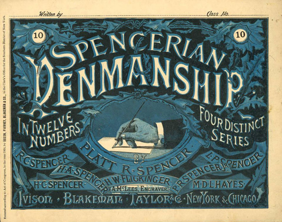 Copybook for teaching Spencerian penmanship, courtesy of Myers University on Ohio Memory.