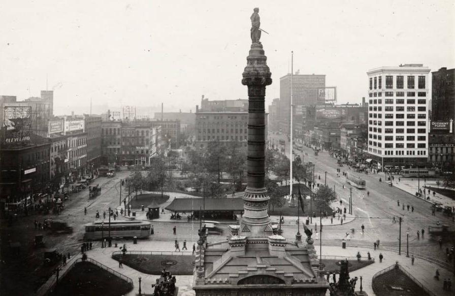 View of Cleveland Public Square in 1920, showing the many forms of transportation that shared the road. Via Ohio Memory.
