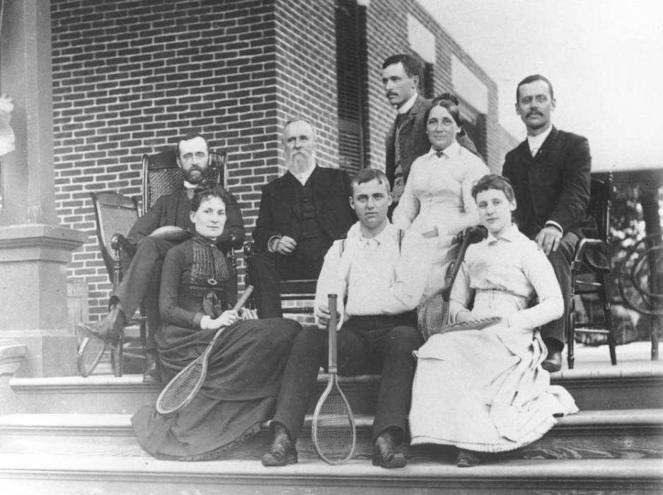 Lucy surrounded by her husband and five grown children at their home, Spiegel Grove, in Fremont, Ohio, 1887. Courtesy of the Rutherford B. Hayes Presidential Center via Ohio Memory.