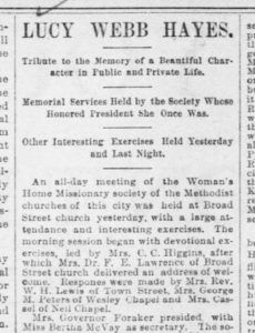 A mention of Lucy Hayes in the Ohio State Journal following her death in 1889. Via Ohio Memory.