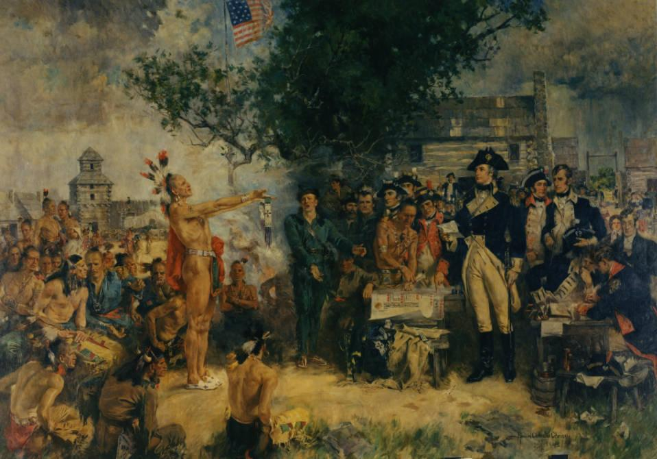 """The Signing of the Treaty of Greene Ville, 1795"" as depicted by Howard Chandler Christy, via Ohio Memory."