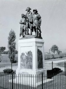 Monument commemorating the Battle of Fallen Timbers in 1794, located southwest of Maumee in Lucas County. Via Ohio Memory.