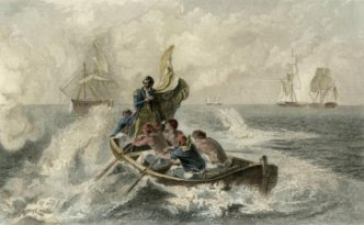 """""""Perry at the Battle of Lake Erie"""" lithograph, ca. 1813, via Ohio Memory. On Perry's flag are the famous words """"Don't Give Up the Ship."""""""