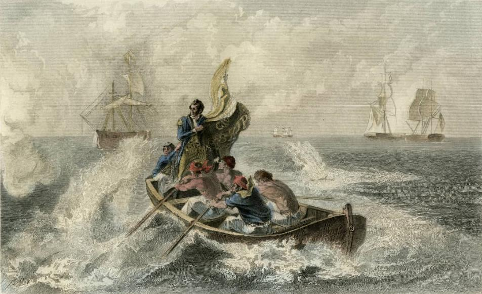 """Perry at the Battle of Lake Erie"" lithograph, ca. 1813, via Ohio Memory. On Perry's flag are the famous words ""Don't Give Up the Ship."""