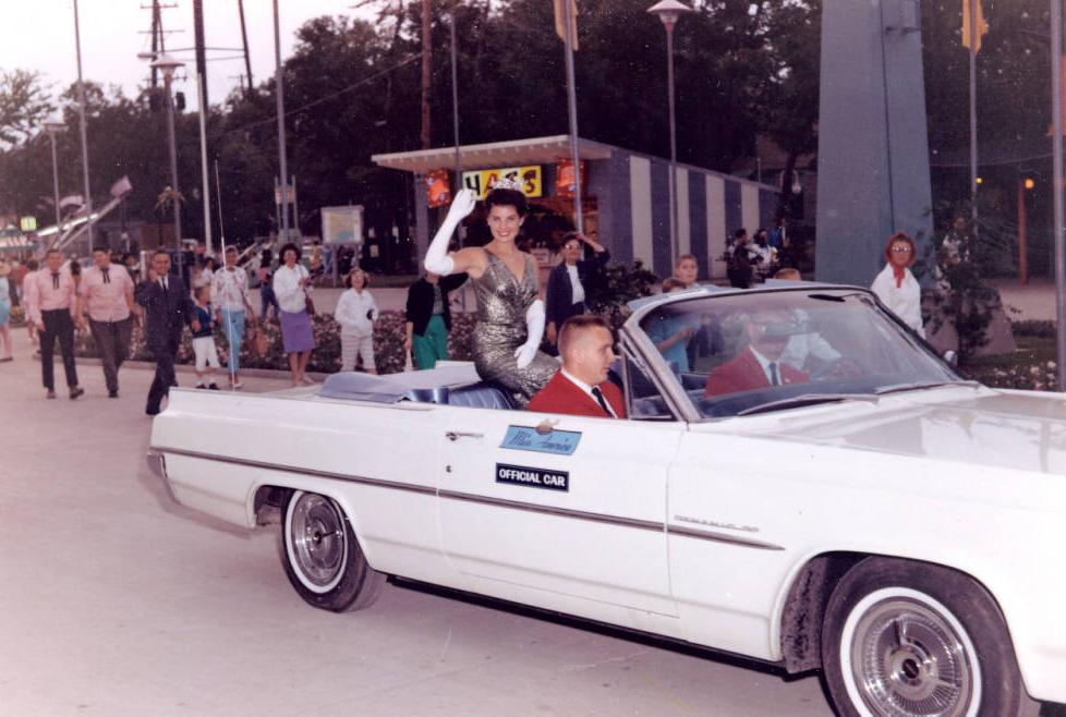 Jacquelyn Mayer, Miss America 1963, in the official Miss America car, via Ohio Memory.