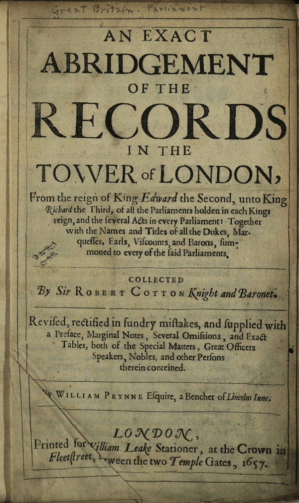 Title page of An exact abridgement of the records in the Tower of London, via Ohio Memory.