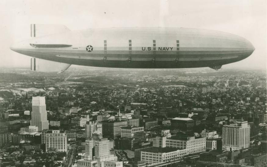 The USS Akron flying over its namesake city, ca. 1931-1933. Via Ohio Memory.