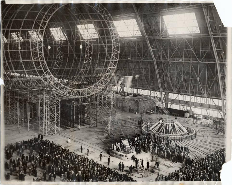 Ceremony celebrating the completion of the frame of the USS Akron in 1930, via Ohio Memory.