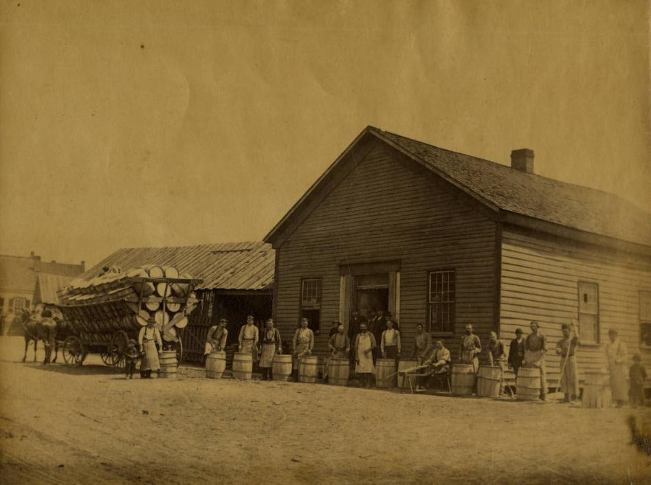 Cooperage (or barrel factory) believed to be taken in the area of Chillicothe around the time of the annual reports, ca. 1890. Via Ohio Memory.