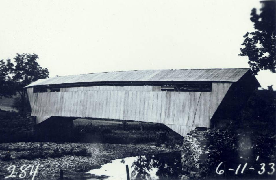 The Harshaville covered bridge in Adams County, Ohio, was built around 1855. Confederate General John Hunt Morgan crossed the bridge on July 15, 1863, when he and his 2,000 raiders passed through Adams County. The bridge was listed on the National Register on March 16, 1976.