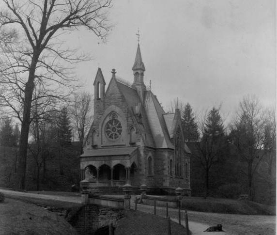 "The Civil War Memorial Chapel at the Akron Rural Cemetery (also known as Glendale Cemetery) was dedicated on Memorial Day, 1876 to honor Union soldiers who died in the Civil War. The Gothic-style chapel was designed by prominent architect Frank O. Weary, and was built with funds raised by the Buckley Post of the Grand Army of the Republic, a veterans' organization. Inside the chapel are fourteen marble tablets engraved with the names of 852 Akron soldiers who died during the war. The chapel, listed on the National Register of Historic Places, features stained glass windows from Scotland, floor tiles imported from England, and ceiling timbers of butternut. This 6"" x 8.5"" (15.24 x 21.59 cm) photograph is from a collection of original photos that were taken in 1891 to provide a reference for the drawings that appear in Fifty Years and Over of Akron and Summit County by Samuel A. Lane, published in 1892. The building is listed on the National Register of Historic Places. Courtesy of the Akron-Summit County Public Library via Ohio Memory."