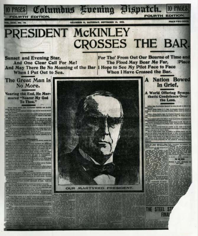 Front page of the Columbus Dispatch on September 14, 1901, announcing the assassination of President William McKinley. Via Ohio Memory.