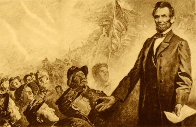 Print showing Lincoln's Gettysburg Address, via Ohio Memory.
