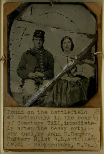 Tintype of an unidentified Union soldier and young woman found on the battlefield of Gettysburg, via Ohio Memory.