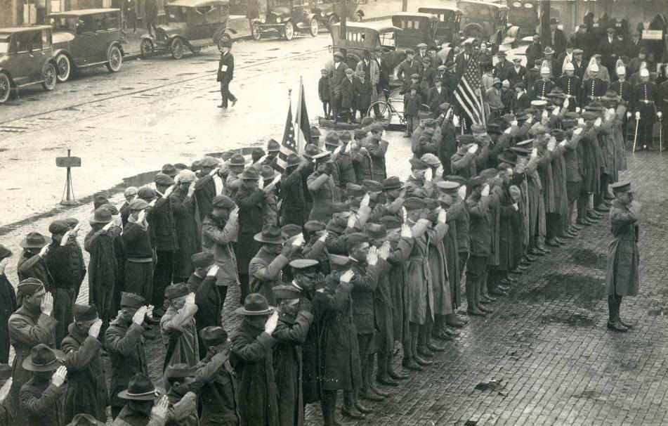 Recent WWI veterans during an Armistice Day ceremony in Nelsonville. Courtesy of the Southeast Ohio History Center via Ohio Memory.