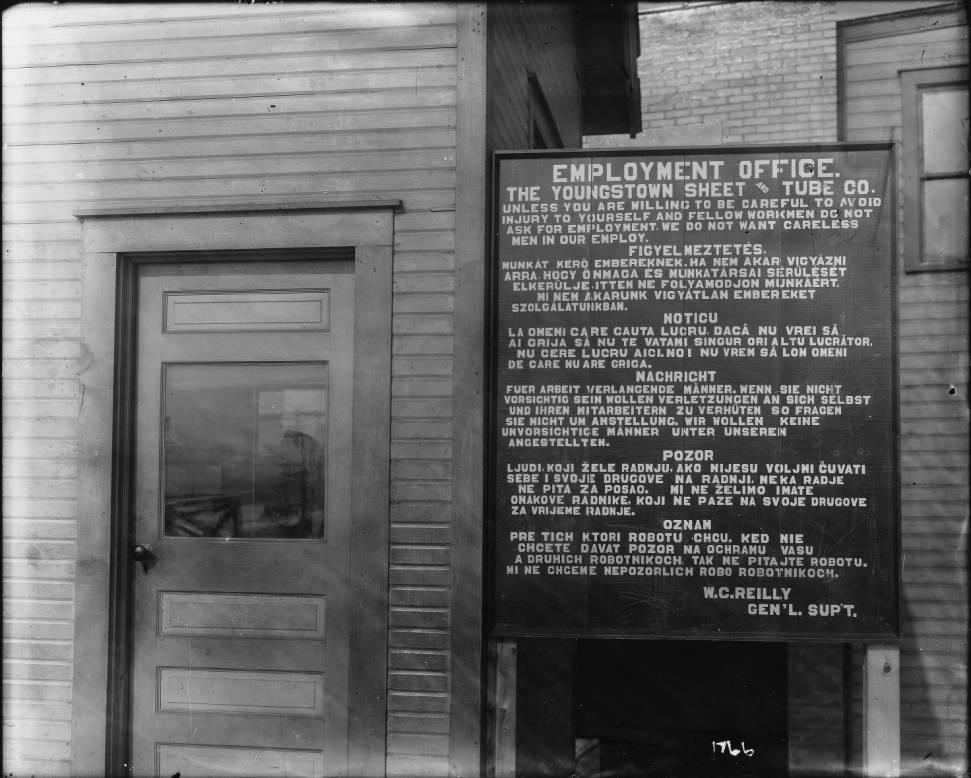 Youngstown Sheet and Tube Company Employment Office Safety Sign
